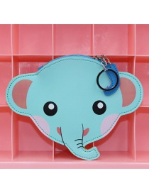 Cute Light Blue Elephant Shape Decorated Coin Purse