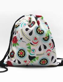 Fashion White Flower Shape Decorated Backpack