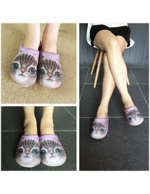 Personality Purple Cat Shape Decorated Slipper