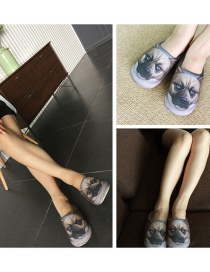 Personality Gray Cat Shape Decorated Slipper