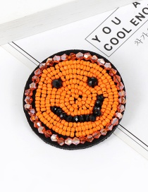 Elegant Orange Smiling Face Shape Decorated Brooch