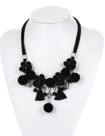 Bohemia Black Fuzzy Ball Decorated Pom Necklace