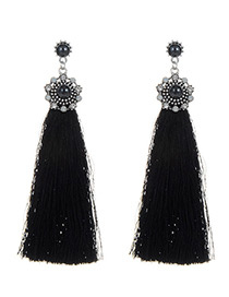Elegant Black Round Shape Decorated Tassel Earrings