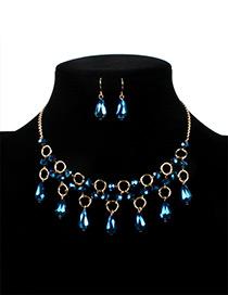 Fashion Blue Water Drop Decorated Jewelry Set