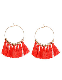 Vintage Red Tassel Decorated Sector Shape Earrings