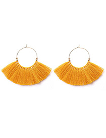 Vintage Yellow Tassel Decorated Earrings