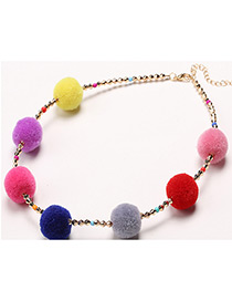 Fashion Multi-color Ball Shape Decorated Pom Earrings