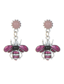 Fashion Purple Bee Shape Decorated Earrings