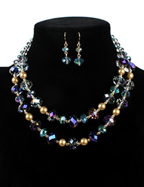 Fashion Purple Ball Shape Decorated Double Layer Jewelry Set