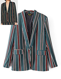 Fashion Green Stripe Decorated Coat