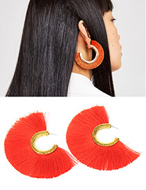 Fashion Red Sector Shape Decorated Earrings