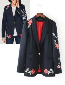 Fashion Black Embroidery Flower Decorated Suit Jacket