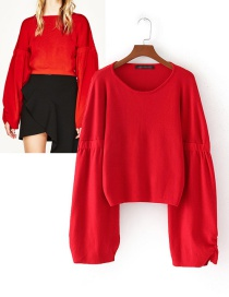 Fashion Red Pure Color Decorated Sweater