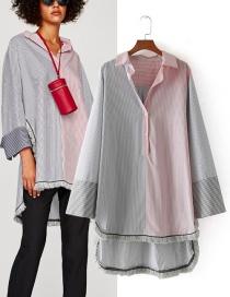 Fashion Multi-color Stripe Pattern Decorated Shirt