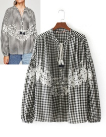 Fashion Black+gray Embroidery Flower Decorated Shirt