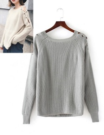 Fahsion Gray Pure Color Decorated Sweater