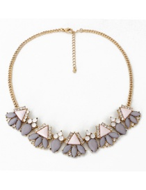Fashion Gray Diamond Decorated Necklace