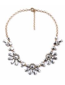 Fashion Gold Color Flower Shape Decoraetd Necklace