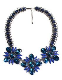 Fashion Sapphire Blue Flower Shape Decoraetd Necklace