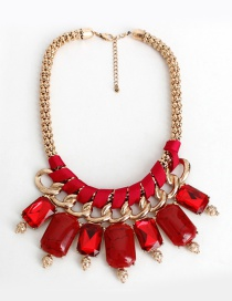 Fashion Red Square Shape Decorated Necklace