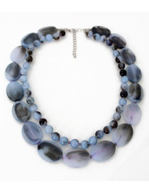 Fashion Gray Bead Decorated Necklace