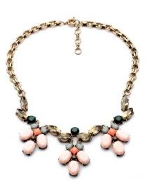 Fashion Pink Oval Shape Diamond Decorated Necklace