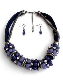 Fashion Blue Gemstone Decorated Jewelry Sets