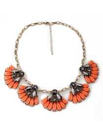 Fashion Orange Flower Shape Decorated Necklace