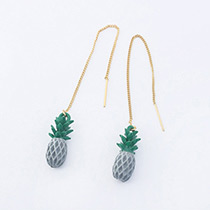 Fashion Gray+gols Color Pineapple Shape Decorated Pure Color Earrings
