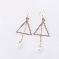 Fashion Brown Pearl Decorated Triangle Shape Pure Color Earrings