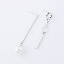 Fashion Silver Color Pearl Decorated Irregular Pure Color Earrings