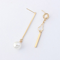 Fashion Gold Color Pearl Decorated Irregular Pure Color Earrings