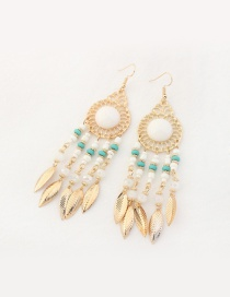 Fashion White Leaf Decorated Tassel Pure Color Earrings