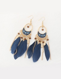 Fashion Navy Feather Decorated Tassel Pure Color Earrings