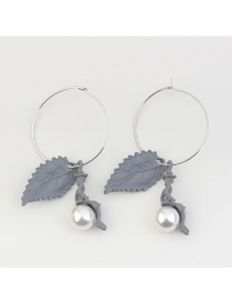 Fashion Gray Pearl Decorated Leaf Shape Simple Earrings
