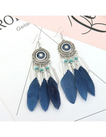 Vintage Navy Feather&beads Decorated Pure Color Earrings