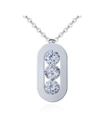 Sweet Silver Color Round Shape Diamond Decorated Pure Color Necklace