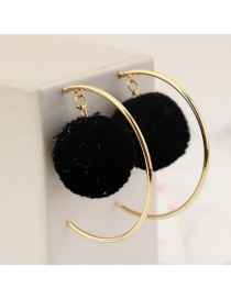 Personalized Black Circular Ring&fuzzy Ball Decorated Pom Earrings