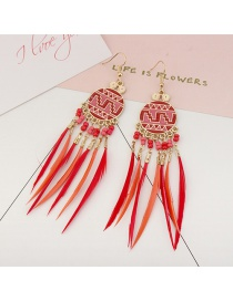 Vintage Red Feathers&beads Decorated Long Earrings