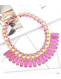 Trendy Purple Square Shape Diamond Decorated Pure Color Necklace