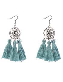 Bohemia Blue Hollow Out Decorated Tassel Earrings