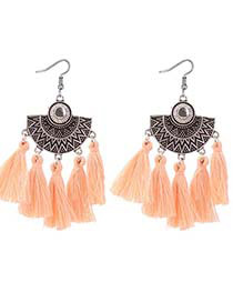 Bohemia Light Orange Tassel Decorated Earrings