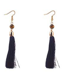 Bohemia Black Long Tassel Decorated Earrings
