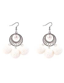 Bohemia White Hollow Out Decorated Pom Earrings