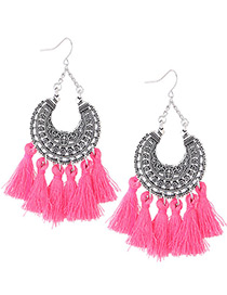 Trendy Pink Moon Shape Decorated Tassel Earrings