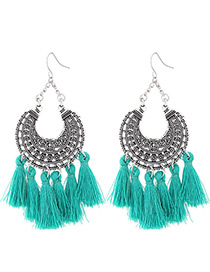 Trendy Green Moon Shape Decorated Tassel Earrings