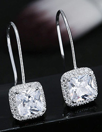 Elegant Silver Color Square Shape Decorated Earrings