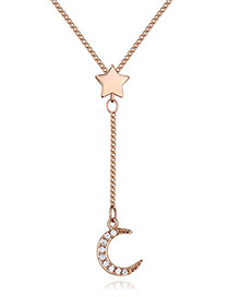 Elegant Rose Gold Color Moon Shape Decorated Necklace