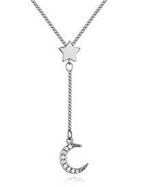 Elegant Silver Color Moon Shape Decorated Necklace