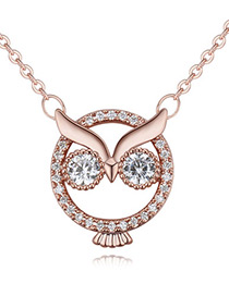 Lovely Rose Gold Color Owl Shape Decorated Necklace